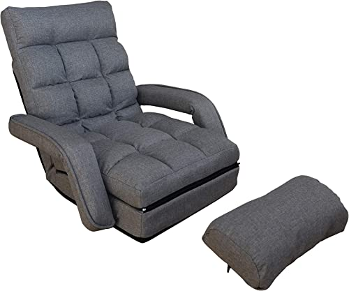WAYTRIM Indoor Chaise Lounge Sofa, Folding Lazy Sofa Floor Chair 6-Position Folding Padded, Lounger Bed with Armrests and a Pillow Chaise Couch – Charcoal