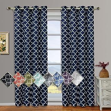 Meridian Navy Grommet Room Darkening Window Curtain Panels Pair Set Of 2