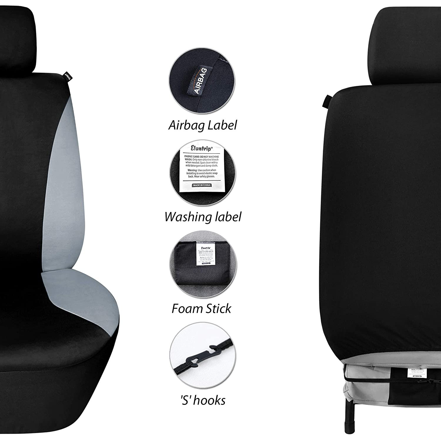 Black 2 PC Elantrip Dual Waterproof Neoprene Front Seat Covers Car Bucket Seat Cover Universal Fit Airbag Compatible for Auto SUV Truck Van