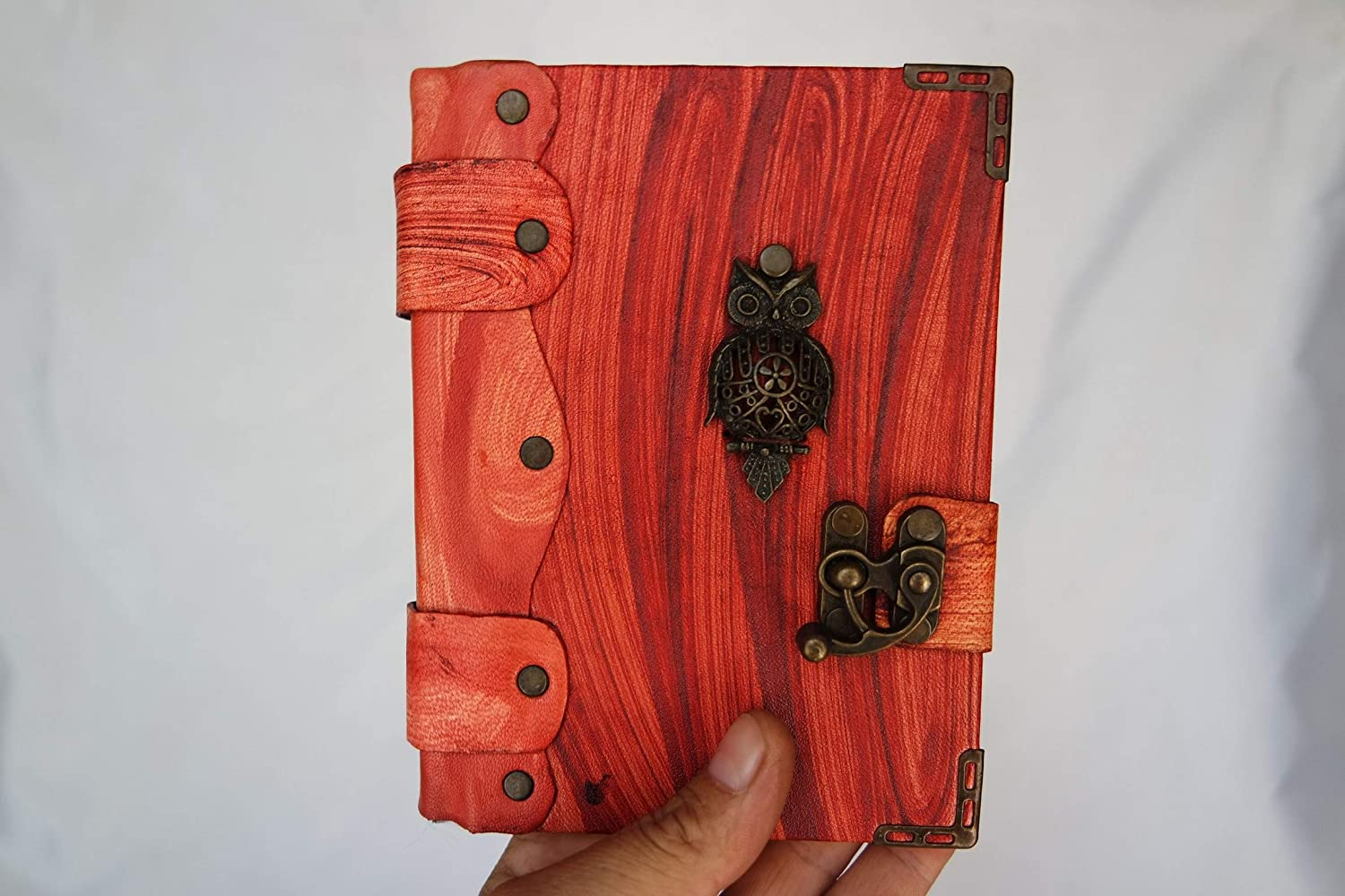 owl pendant notebook,handmade book leather,leather bound journal,leather journal antique vintage design sketchbook Handmade Small leather journal notebook