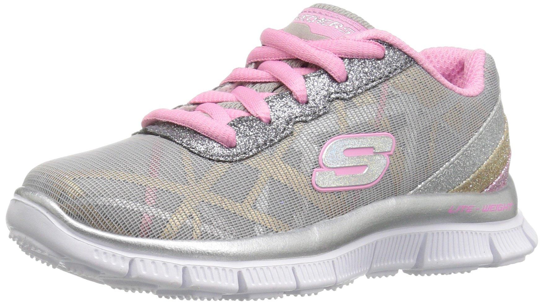 Skechers Kids Girls' Skech Appeal-Gimme Glimmer Sneaker,Gray/Pink/Multi,