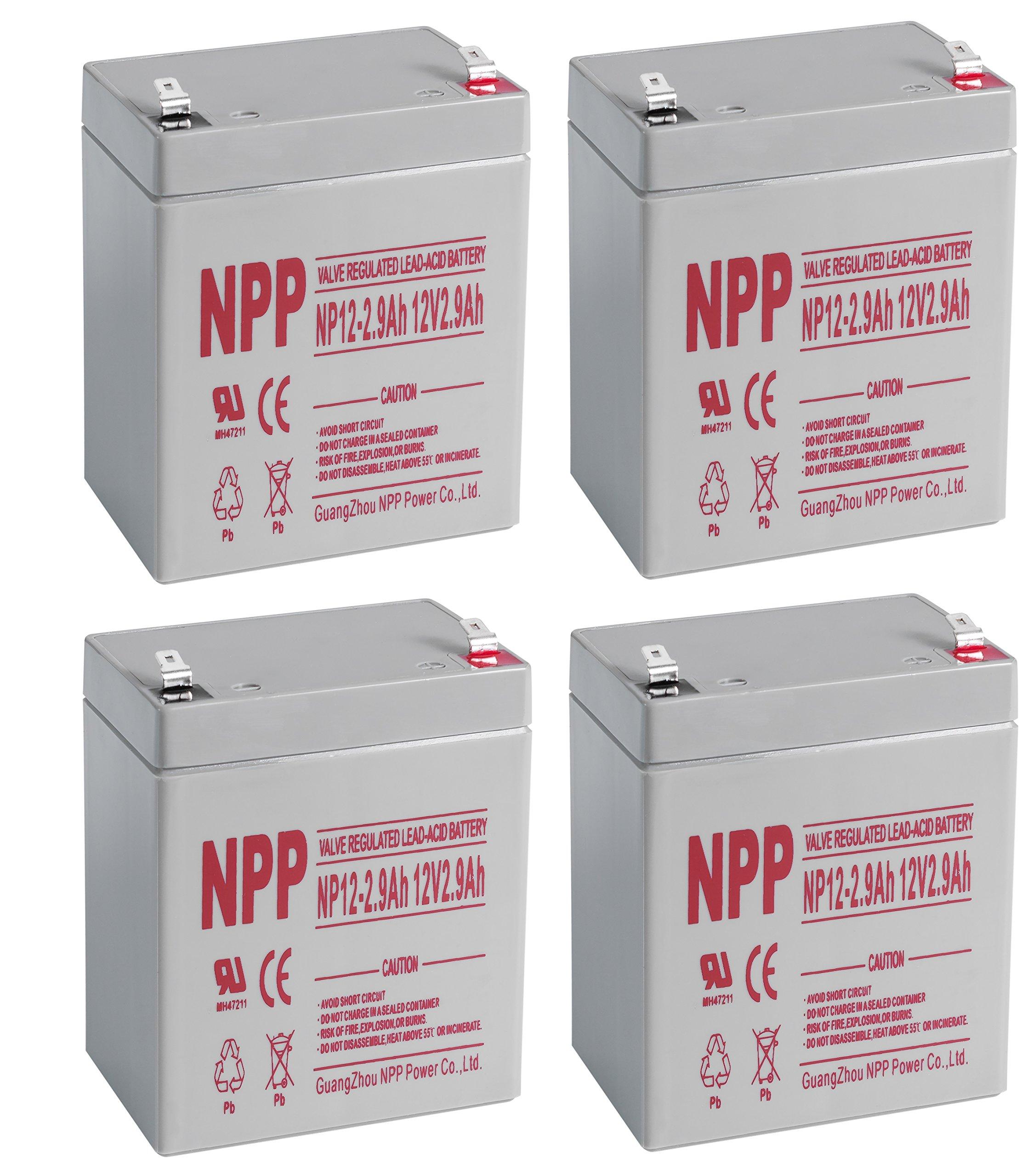 NPPower 12V 2.9Ah SLA Battery F1 Style Terminals/(4pcs)