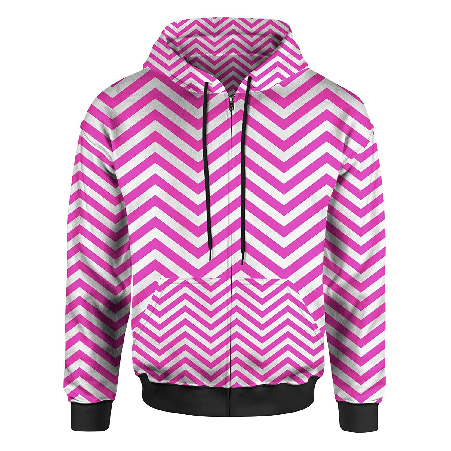 Hot Pink Large Chevron Stripes Men Zip Up Hoodie