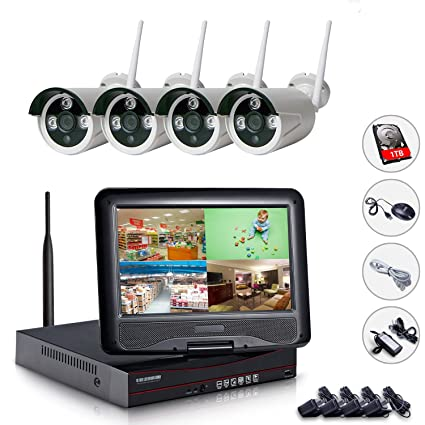 ed2705e82994e All in one with Monitor Wireless Security Camera System Home WiFi CCTV 4CH  1080P NVR Kit