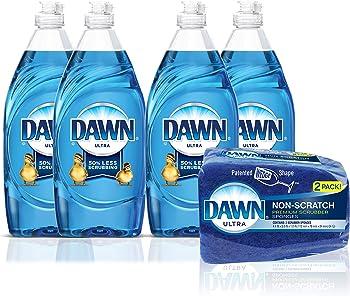 4-Pack Dawn 19oz Ultra Dishwashing Liquid Dish Soap + Non-Scratch Sponge