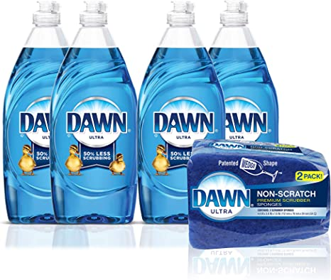 Platinum Refreshing Rain and Pomegranate Splash Gentle Clean Dawn Dish Soap Variety Pack with Non-scratch Sponge-Includes Ultra Original Scent