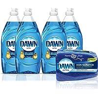 Dawn Ultra Dishwashing Liquid Dish Soap (4x19.4oz) + Dawn Non-Scratch Sponge (2ct), Original(Packaging May Vary)