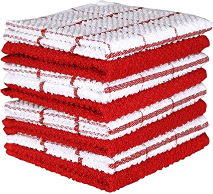 12 Pack of Cotton Dishcloths 12 x 12 Absorbent Terry Kitchen Cleaning Towels