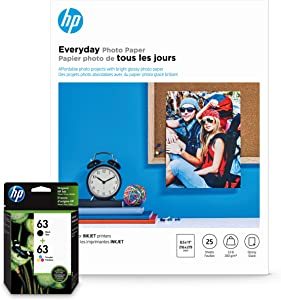 HP 63 Black & Tri-Color Inks + HP Everyday Photo Paper, Glossy, 25 Sheets, 8.5x11
