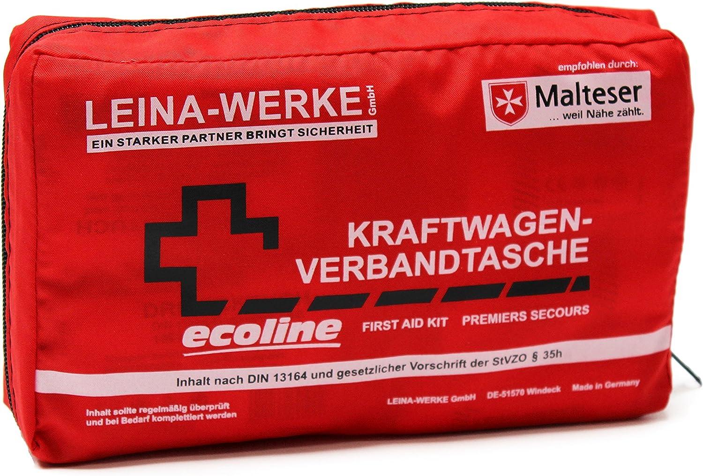 Leina Werke 11044 Kfz Verbandtasche Compact Ecoline Mit Klett Rot Schwarz Weiß Auto