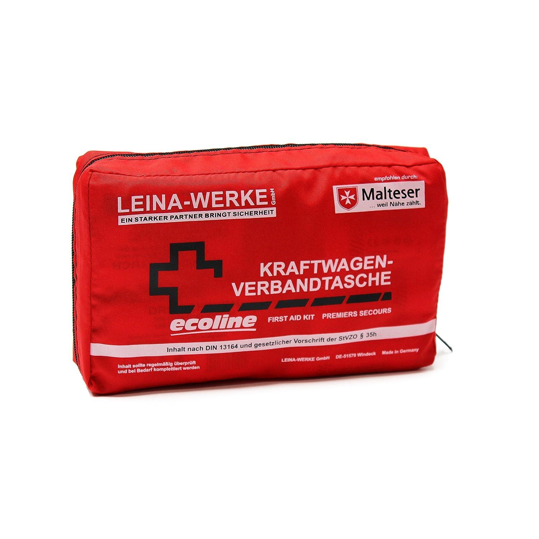 Leina Werke 11044 KFZ-Verbandtasche Compact Ecoline mit Klett Rot//Schwarz//Wei/ß