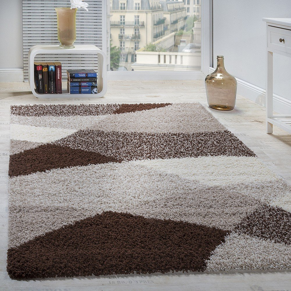 Paco Home Shaggy Teppich Hochflor Langflor Weich Geometrisch Gemustert Braun Beige Creme, Grösse 70x250 cm