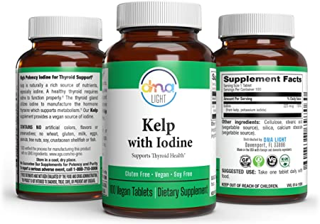 DNA Light Sea Kelp Iodine Supplement 225mg - 100 Tablets - Seaweed Extract for Thyroid Support, Weight Loss, Energy, Brain & Immune Health – Vegan, Gluten Free, Non-GMO