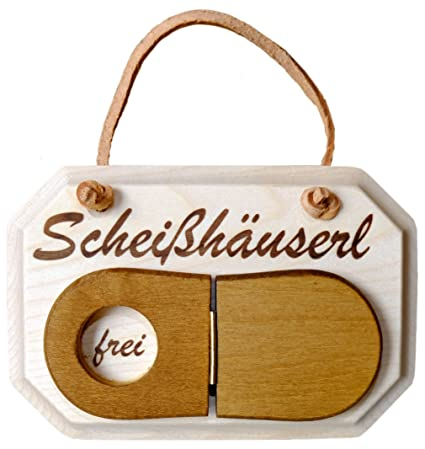 Toilet or Besetzt Occupied Door Plaque Solid Maple Wood with German Word Toilette Vacant with Toilet Lid-Shaped Panel to Reveal Either Frei