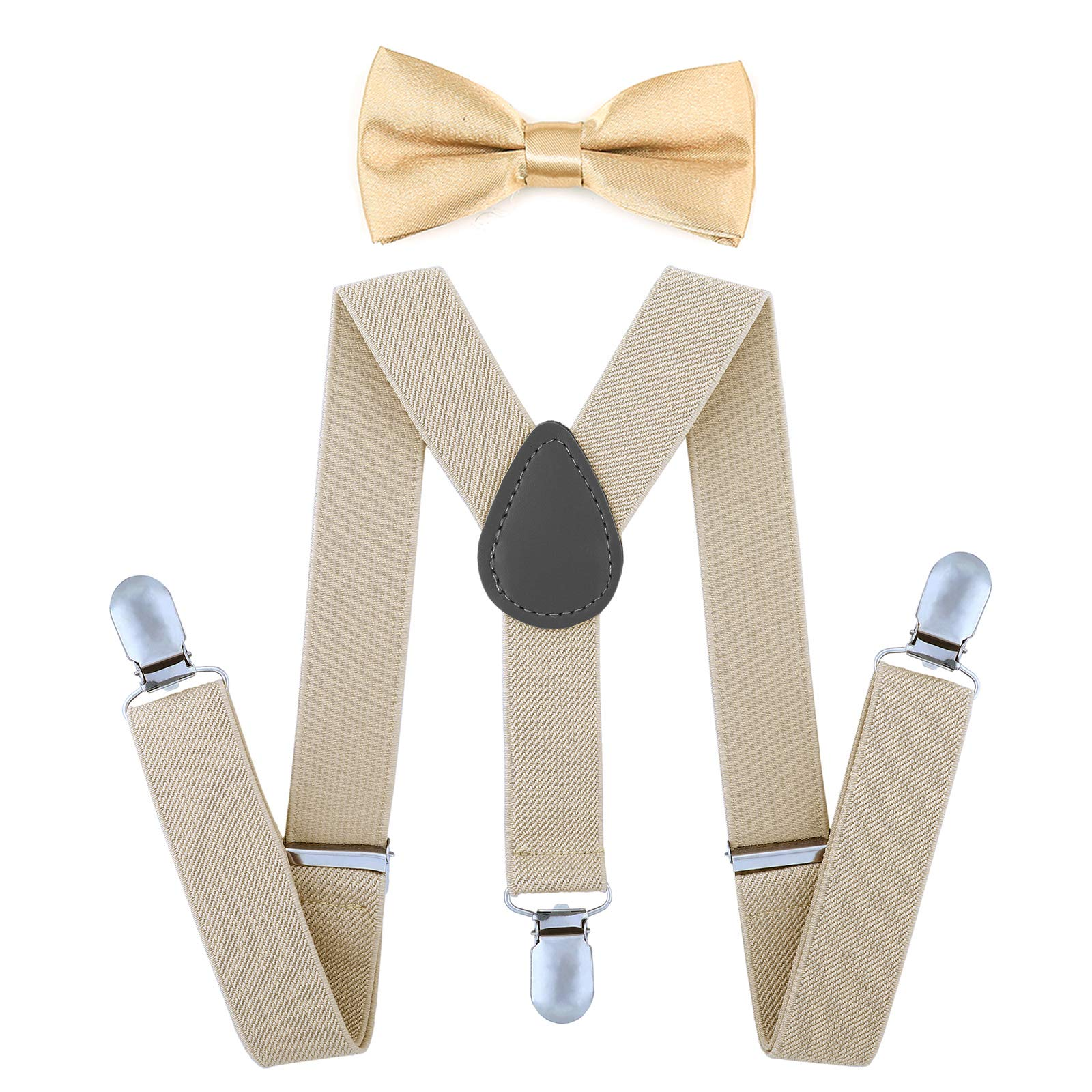 AWAYTR Child Kids Suspenders Bowtie Set - Adjustable Suspender Set for Boys and Girls (Khaki, 30Inches (6 Years to 5 Feet Tall) by AWAYTR