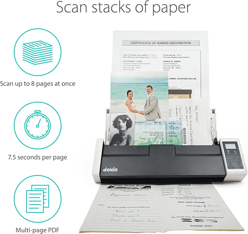 Doxie Q - Wireless Rechargeable Document Scanner with Automatic Document Feeder (ADF)