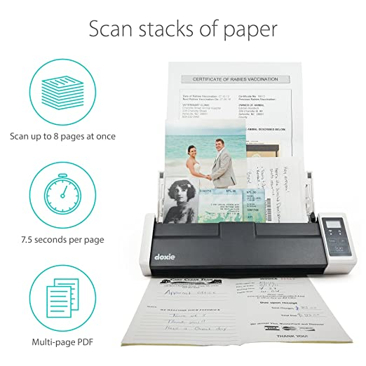 Amazon com doxie q wireless rechargeable document scanner with automatic document feeder adf office products