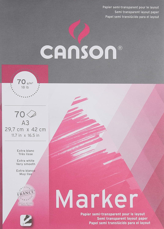 Canson Graphic Arts 70 fogli di carta da disegno High White colore extra bianco A3-29.7x42cm Bianco