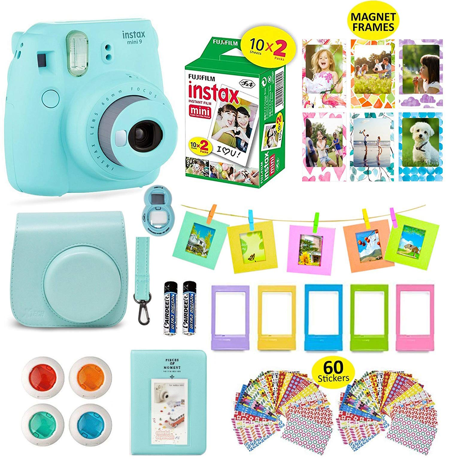 Fujifilm Instax Mini 9 ICE Blue Camera + 20 Instant Film Twin Pack, Instax Case + 14 PC Instax Accessories Bundle Kit. Includes; Albums, 4 Color Lenses, Selfie Lens, Frames + 60 Stickers by Shutter by Shutter