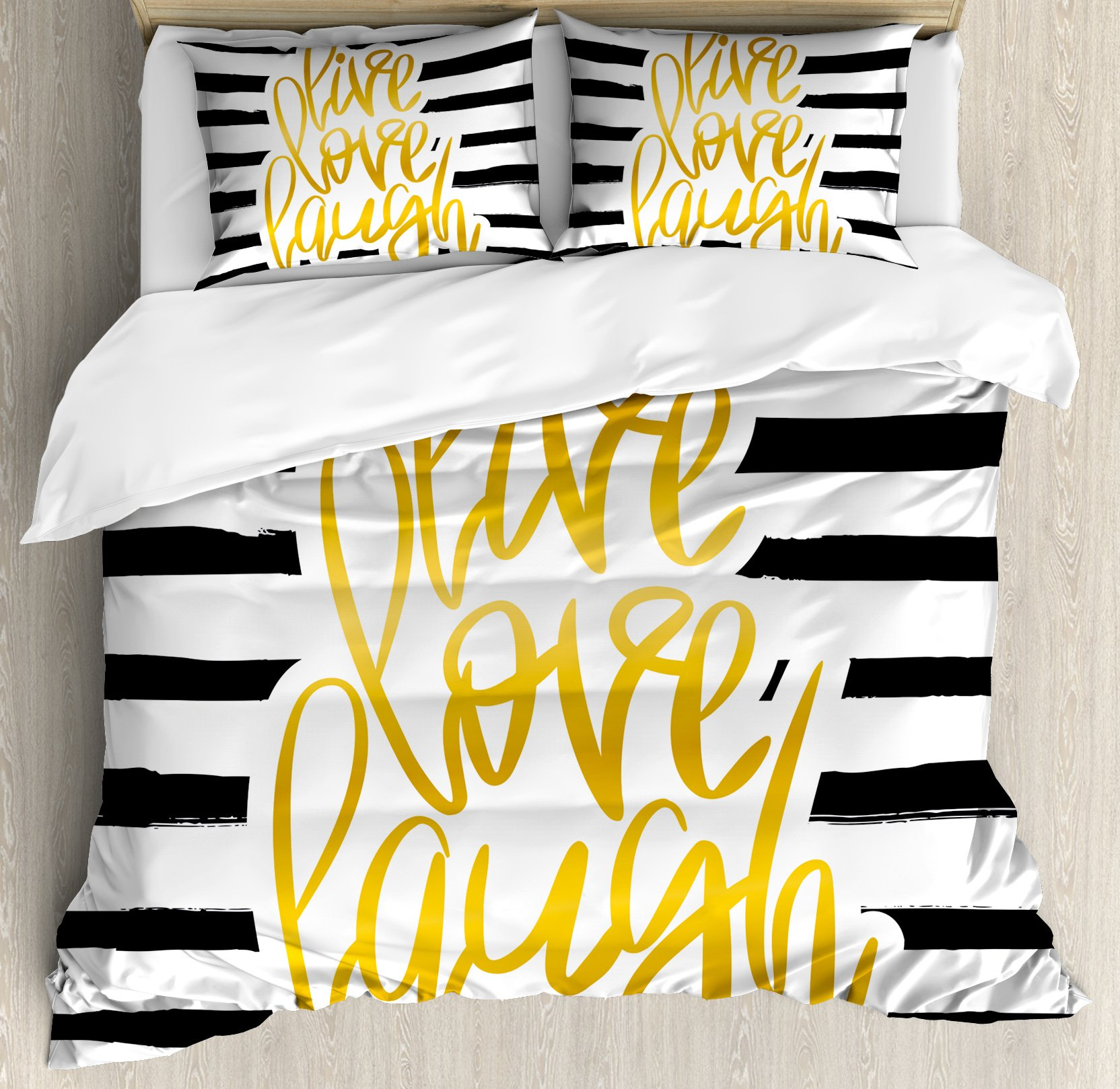 Live Laugh Love Duvet Cover Set Queen Size by Ambesonne, Romantic Design with Hand Drawn Stripes and Calligraphic Text, Decorative 3 Piece Bedding Set with 2 Pillow Shams, Black White Earth Yellow