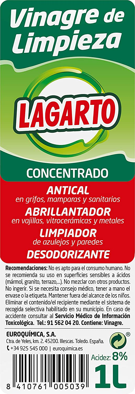 Lagarto Limpiahogar Concentrado - Vinagre de Limpieza - Paquete de 12 x 1000 ml - Total: 12000 ml: Amazon.es: Salud y cuidado personal