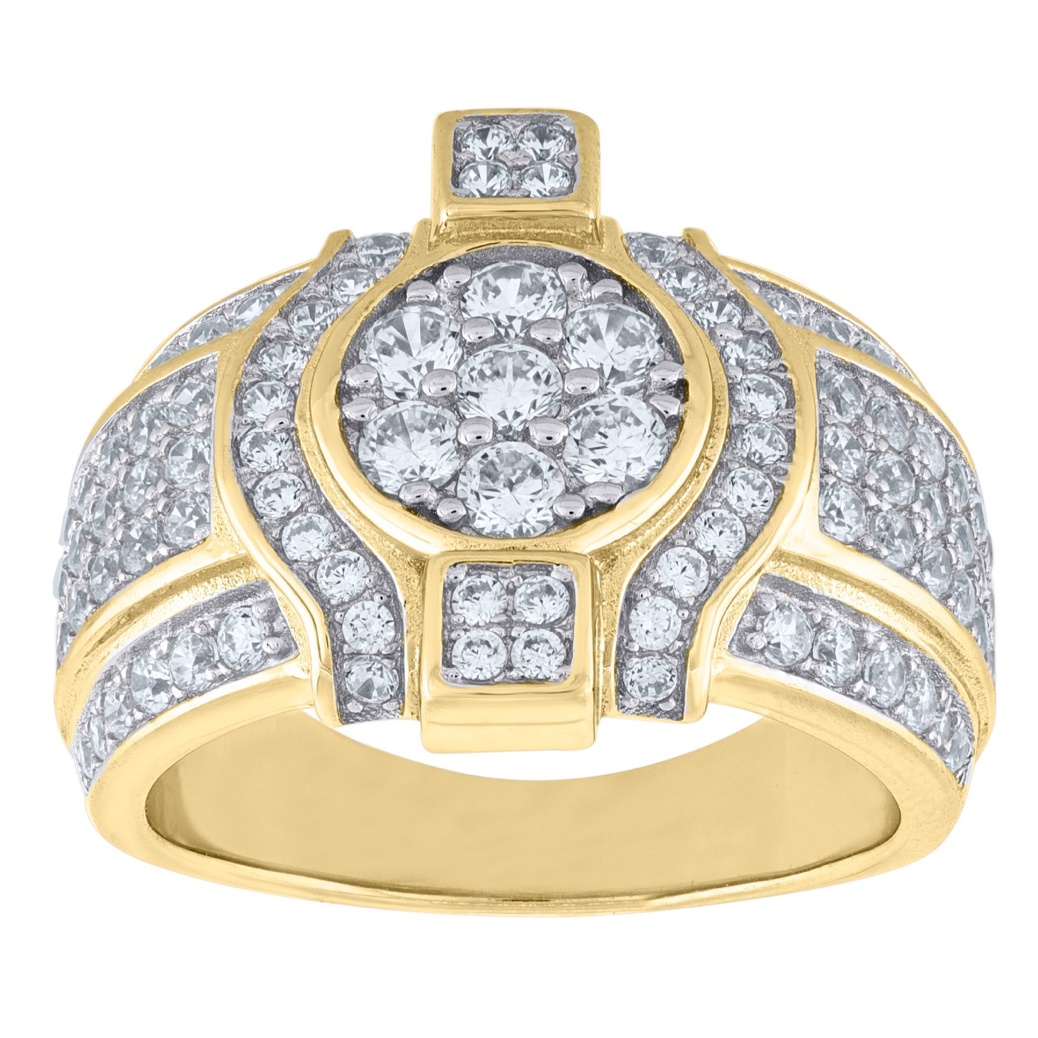 Jawa Jewelers Sterling Silver Mens Two-tone CZ SZ9-10mm Cluster Band Ring-SLV-90110