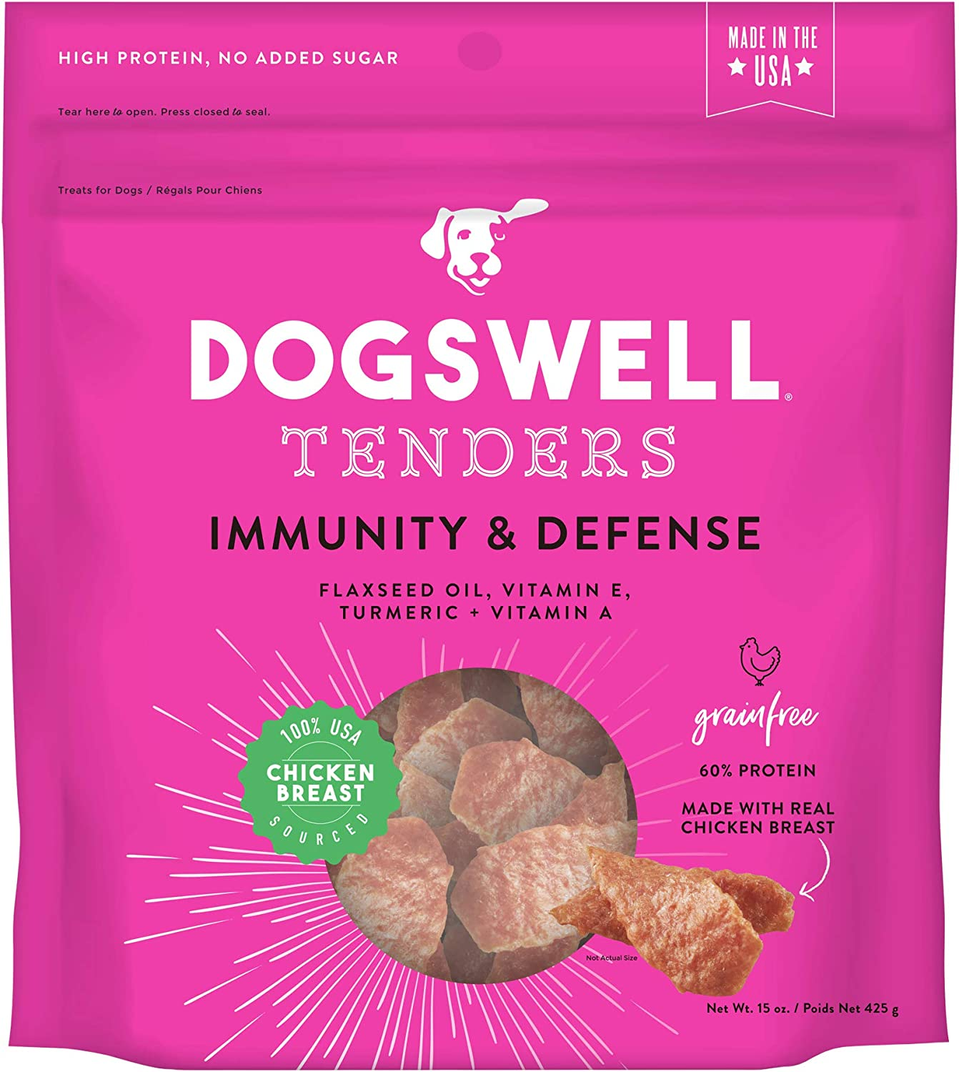 DOGSWELL Immunity & Defense, Flaxseed Oil, Turmeric, Vitamin E & A, Healthy Aging, Chicken Tenders 15 oz