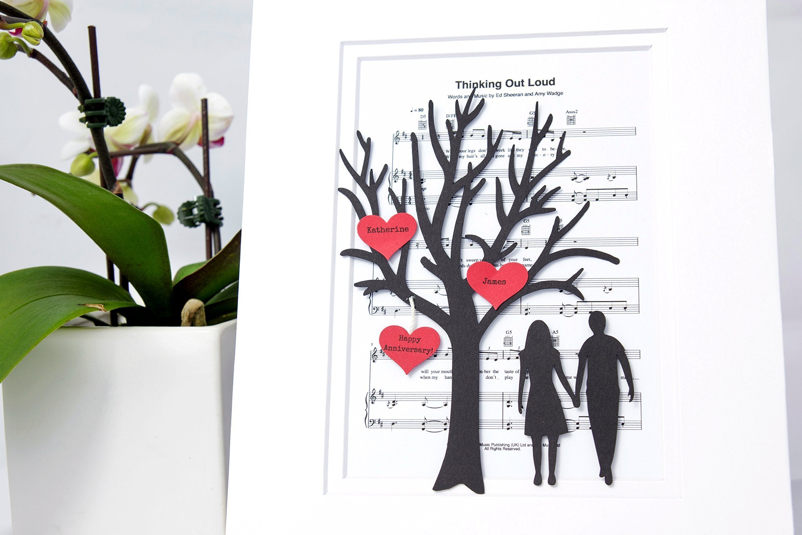 Personalized First Anniversary or Wedding Gift - 3D Paper Tree & Hearts Sheet Music - Custom 1st Anniversary Gift- Paper Anniversary - ''Thinking Out Loud''