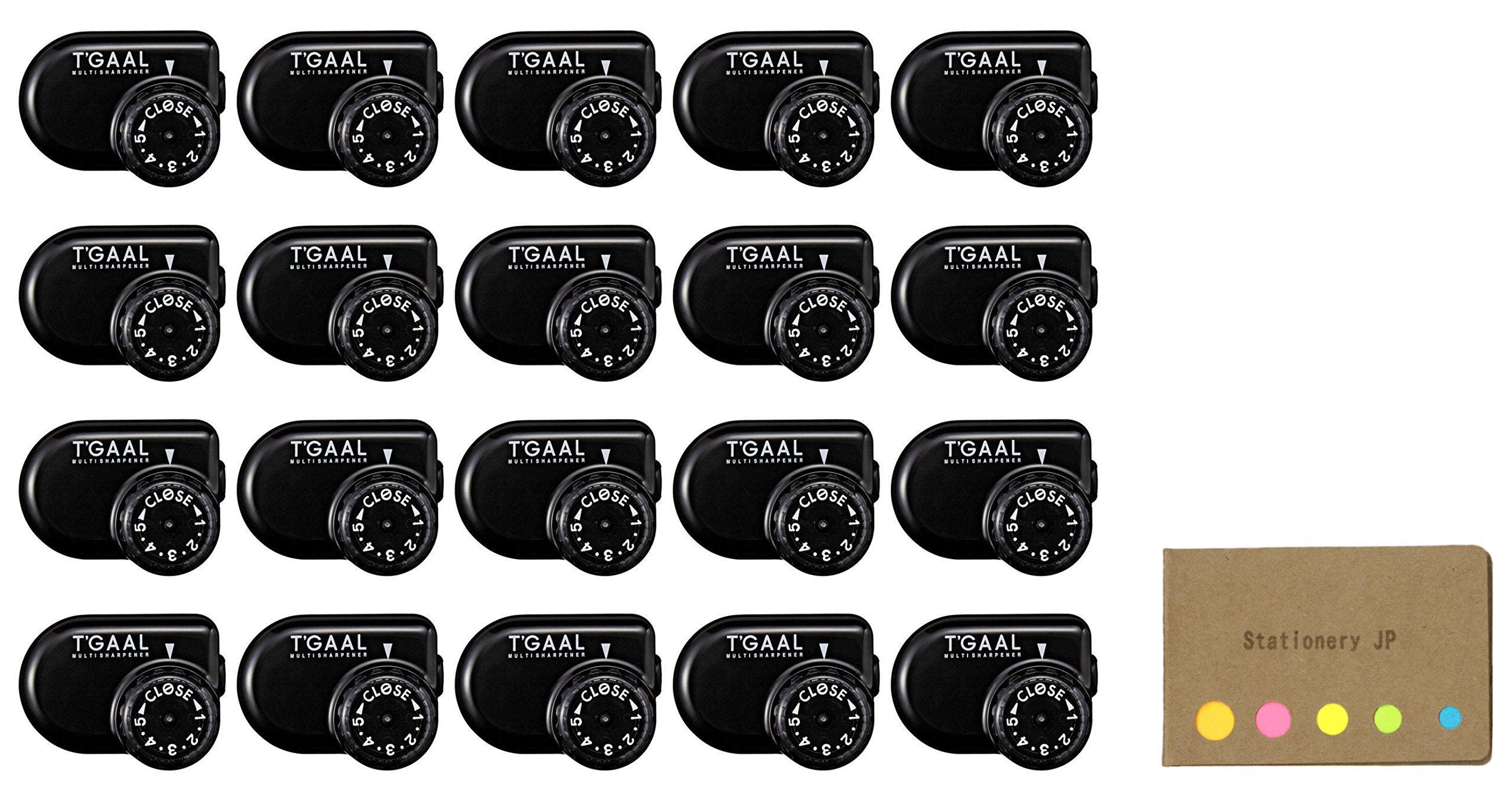 Kutsuwa STAD Angle Adjustable Pencil Sharpener T'GAAL, Black, 20-pack, Sticky Notes Value Set by Stationery JP
