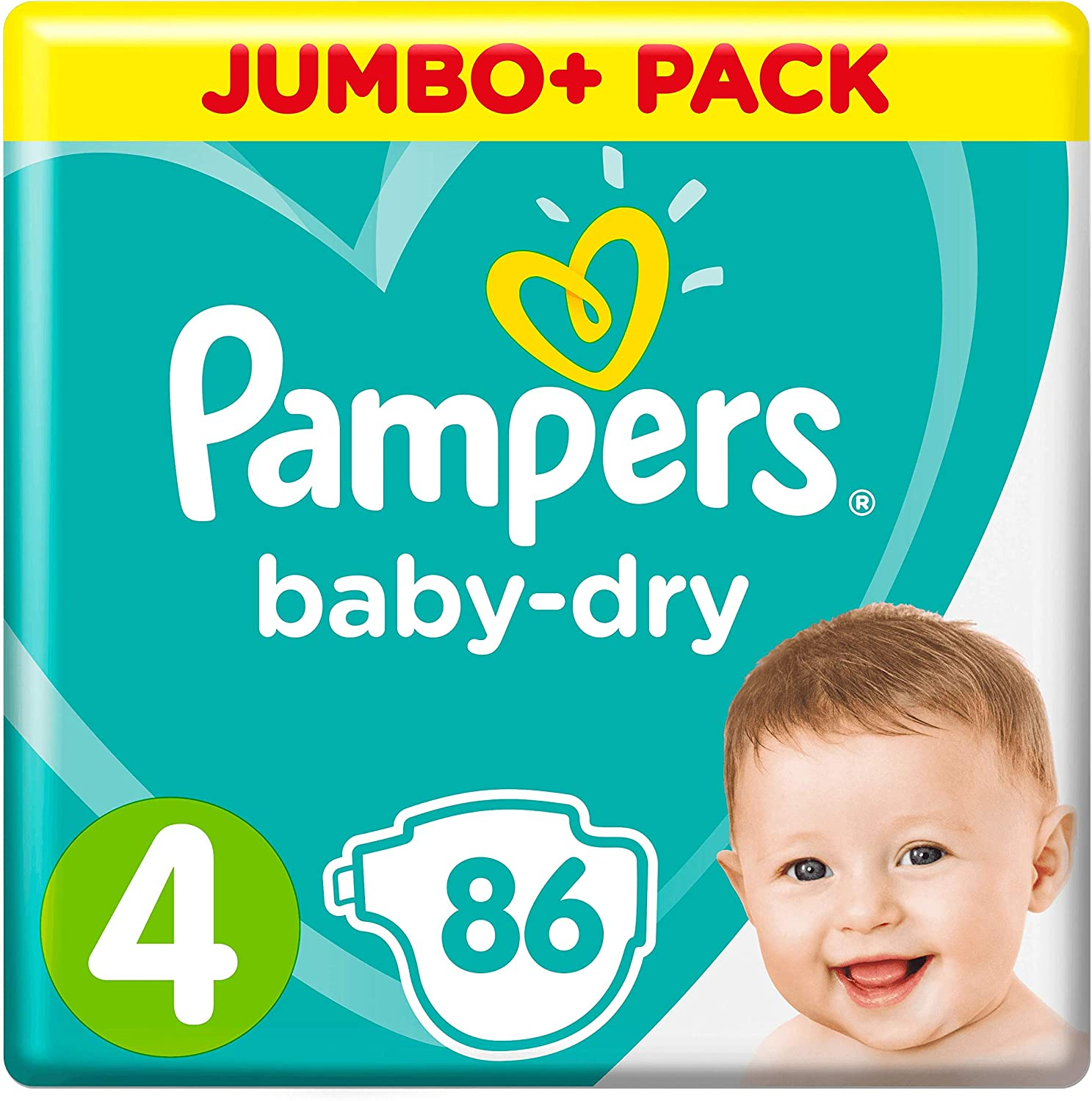 Pampers Baby-Dry Taille 4 86 Couches 9-14 kg Jumbo Pack Canaux dAir pour Respirant S/échage Nuit
