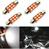 """Alla Lighting 800 Lumens Extremely Super Bright 6000K White 41mm(1.72"""") High Power 3030 SMD 569 211-2 212-2 578 LED Bulbs for Interior Festoon Lamps (Pack of 4)"""