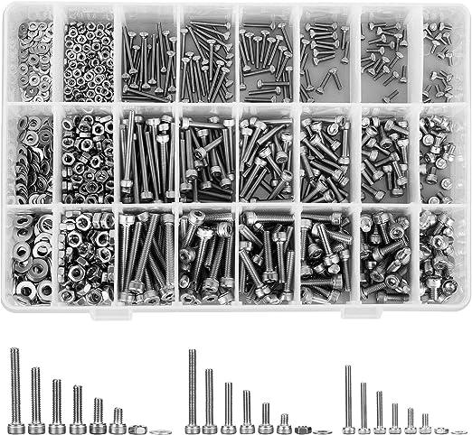 1080er M2 M3 M4 Edelstahl-Sechskopf-Knopf Schrauben Muttern Unterlegscheiben Set