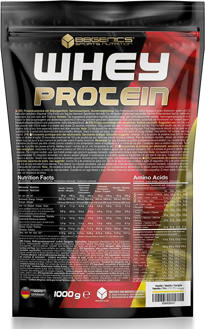BBGENICS Deutschland, La proteína de suero, proteína de suero, proteína en polvo, 1000g chocolate, whey protein