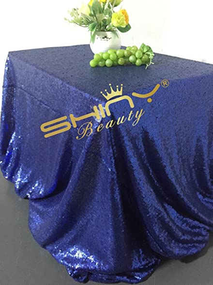 8FT Navy Blue Sequin TableCloth Sequin Overlay/Table Cloth/Covers, Glitz  Table Runner