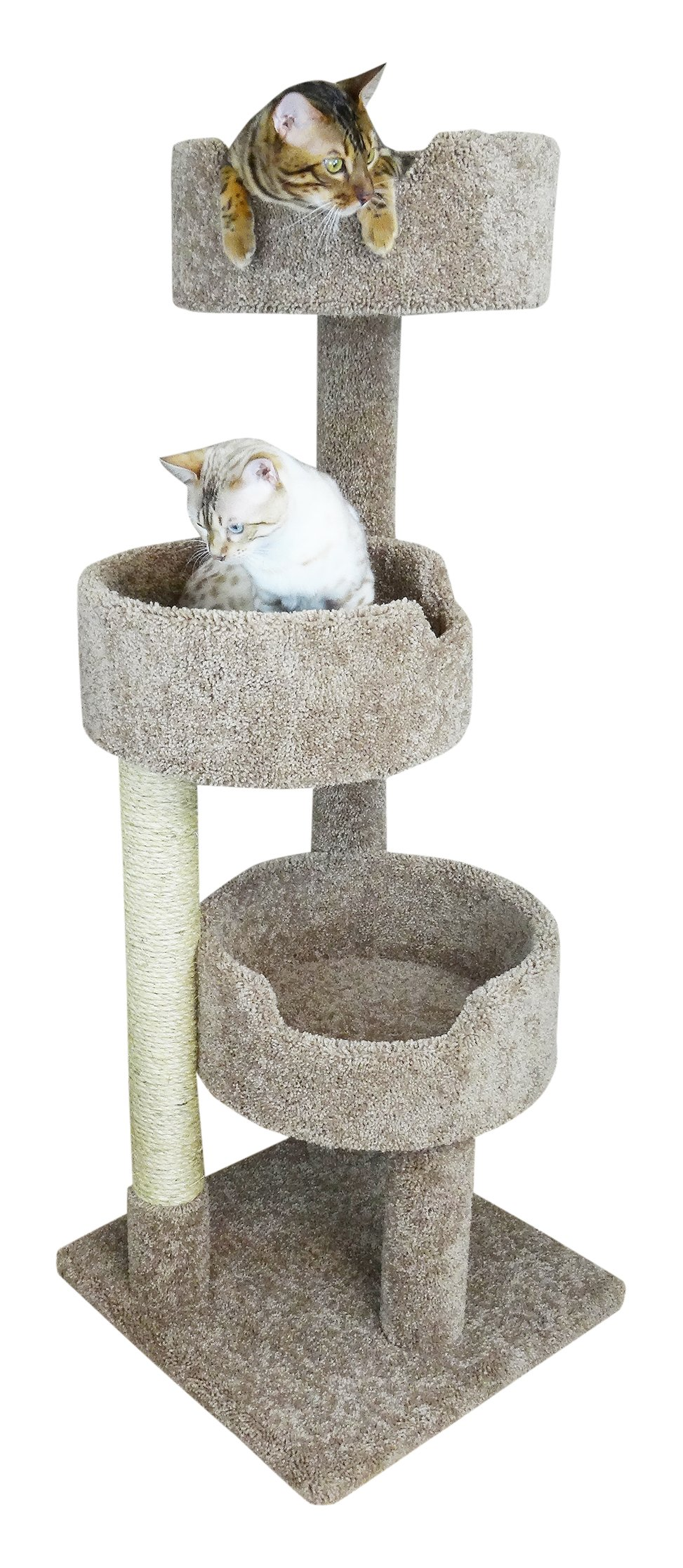 New Cat Condos 52'' Deluxe Cat Tree, Brown, Large