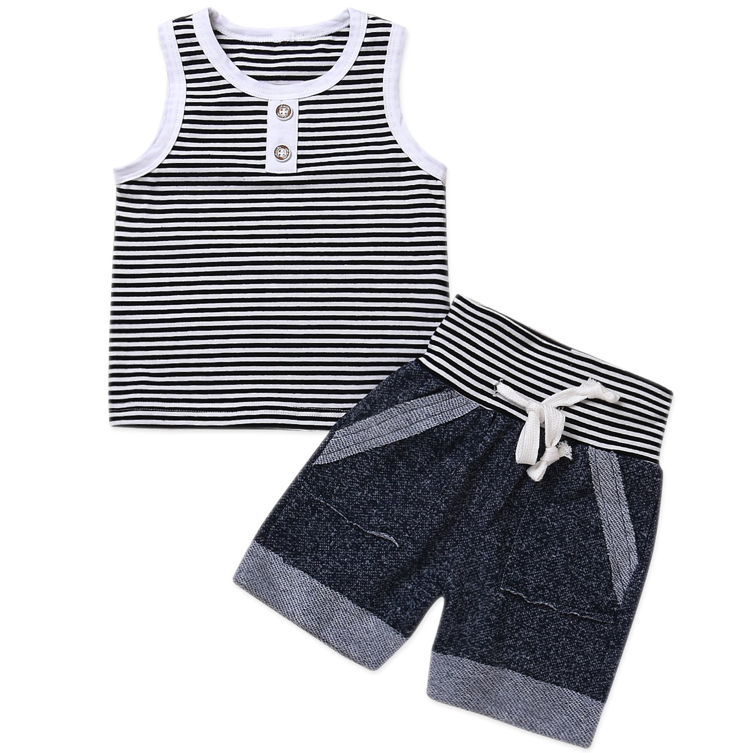 HappyMA Toddler Baby Boy Summer Outfits Stripe Vest Top Sleeveless T-Shirt +Shorts 2PCS Clothes Set (24 Months)