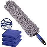 Busy Life CAR DUSTER and MICROFIBER CLEANING CLOTH 3-Pack- Make Quick Work of INTERIOR CAR DETAINING - Flat Dusting Head Design For Cleaning Hard To Reach Areas - Tackle Your Auto Cleaning Today