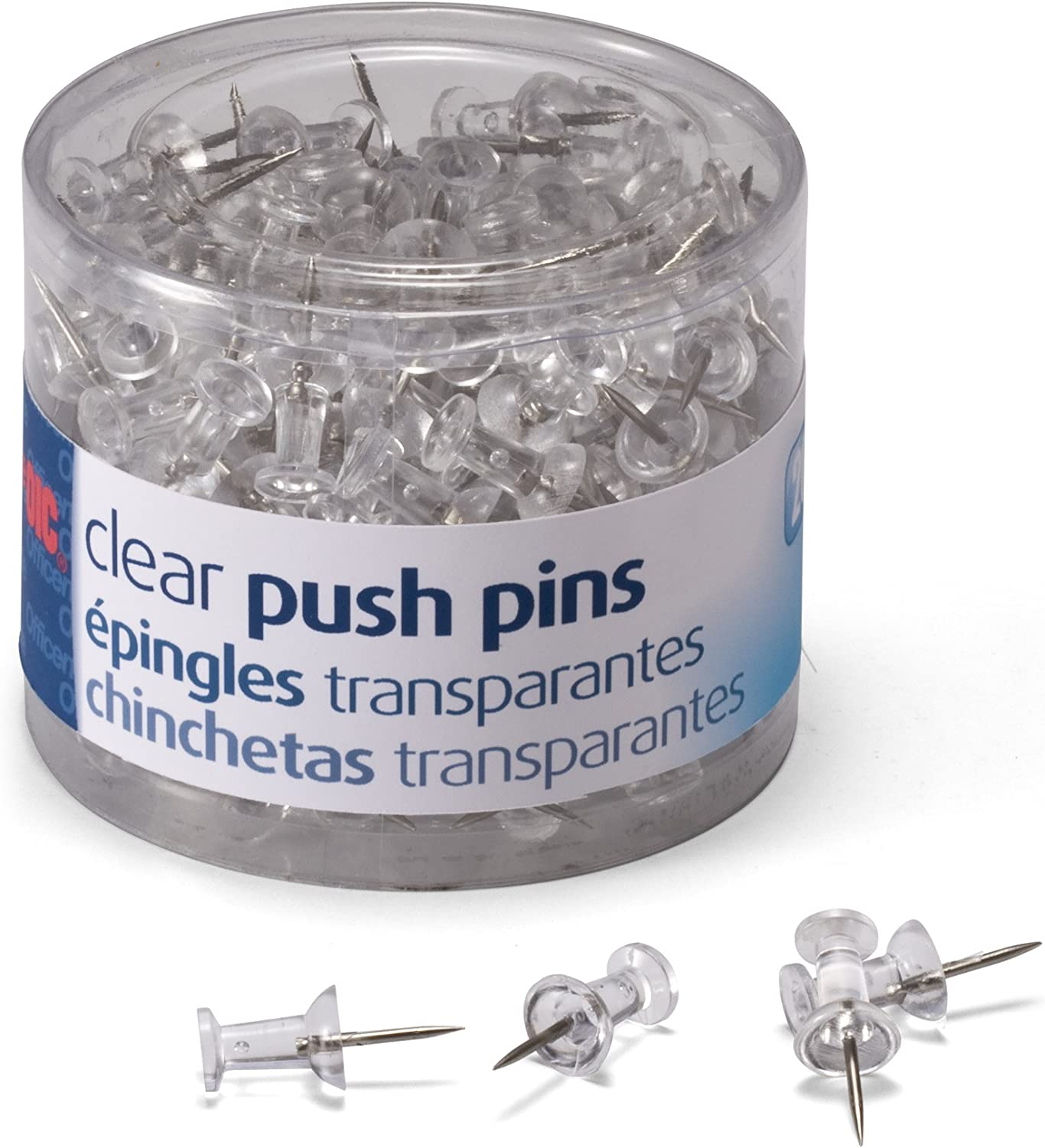 Steel Point Push Pins 200-Count Clear Plastic Head