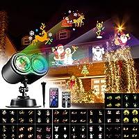 VOKSUN Luces de Proyector Navidad, Impermeable Exterior y Interior LED Lámpara de Proyección Decoración con 4 Colores 18…
