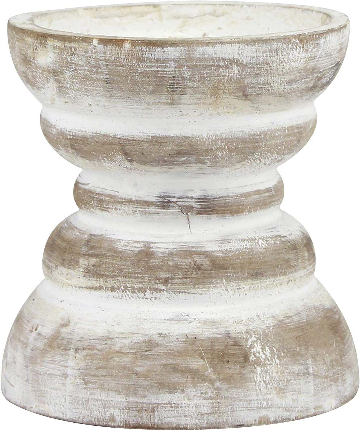 Amazon Com Stonebriar Antique White Wooden Pillar Candle Holder Vintage Seaside Pillar Stand For Dining Table Centerpiece Coffee Table Mantel Or Any Table Top Small Home Kitchen
