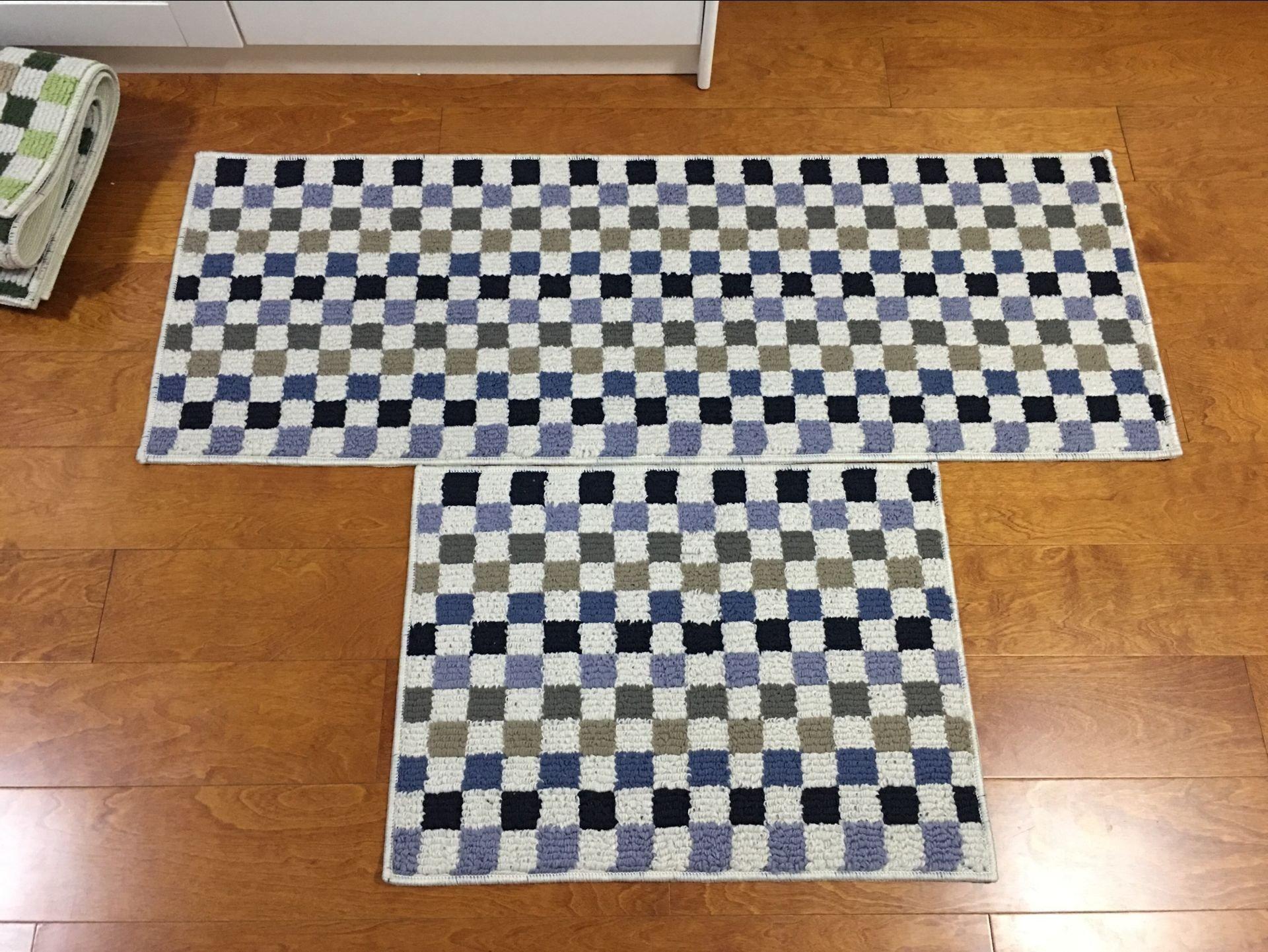Easychan 2 Piece Carpet Rubber Backing Non-Slip Kitchen Rugs Mat Doormat Area