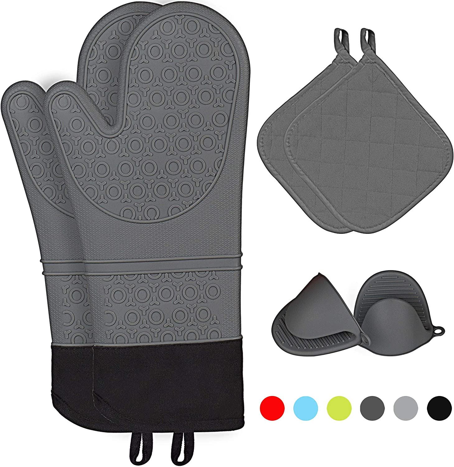 Kiya Silicone Oven Mitts & 2 Pot Holders & 2 Cooking Pinch Mitts(6-Piece Sets) - Heat Resistant to 460 F - Extra Long Oven Gloves with Soft Inner Lining (Dark Grey)
