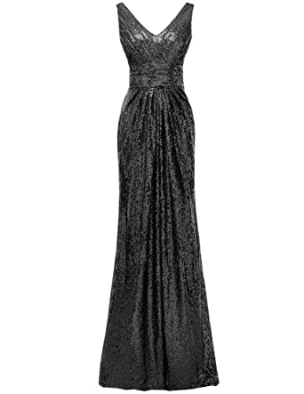 01769a0dd5 SOLOVEDRESS Women s Cap Sleeves Sequined V Neck Bridesmaid Dresses Wedding  Evening Gown (US 2