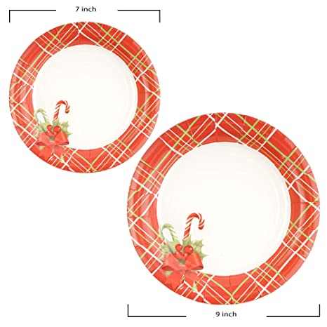 Amazon.com: 141 Piece Christmas Party Set Including Plates, Cups, Spoons, Forks, Knives, Napkins, and Tablecloth, Serves 20: Kitchen & Dining