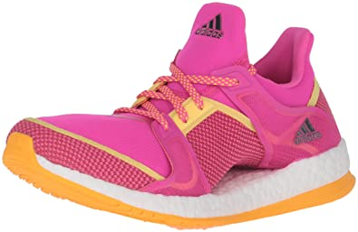 uk availability d20e4 8c437 adidas Women s Pure Boost X TR Cross-Trainer Shoe Shock Pink Neon Orange