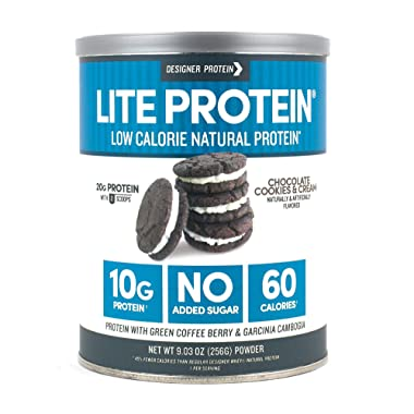 Designer Protein Lite, Chocolate Cookies & Cream, 9.03 Ounce, Low Calorie Protein Powder