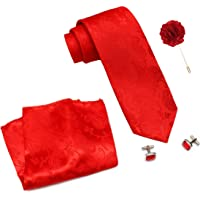 COCO CHANEL Men's Silk Stain Resistant Necktie, Pocket Square, Cufflinks Set (Red, Free Size)