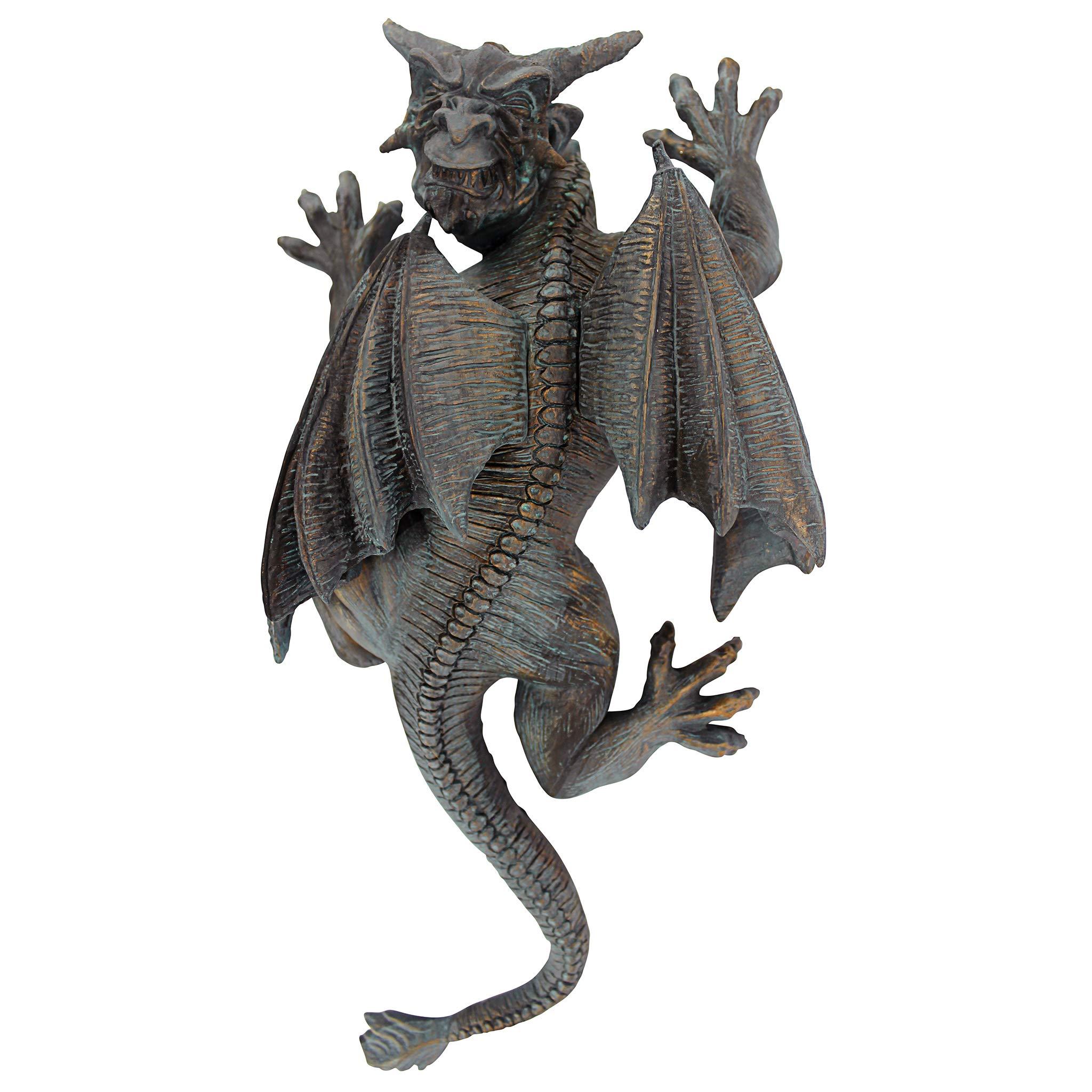 Design Toscano Gargoyle Demon on the Loose Gothic Decor Wall Sculpture, Medium, 13 Inch, Polyresin, Bronze Verdigris Finish by Design Toscano