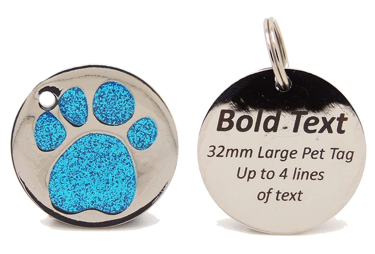 Personalised Engraved 32mm Glitter Paw Print Tag BOLD Contrasting Text, LARGE DOG Pet ID Tags (Black) Engravables