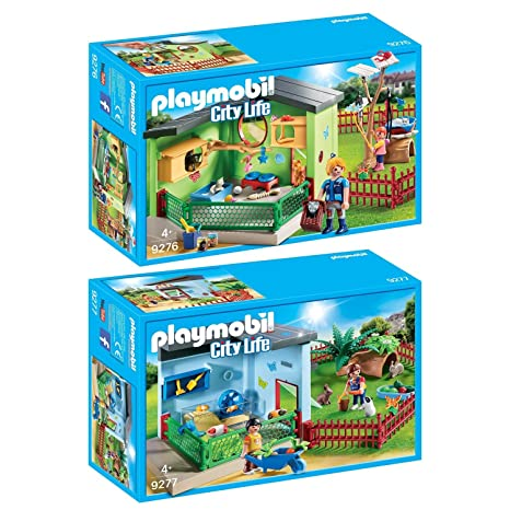 Playmobil Set: 9276 Refugio de Animales para Gatos + 9277 Refugio de Animales para Pequeños